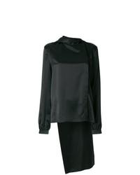 Blusa de manga larga de seda negra de Saint Laurent