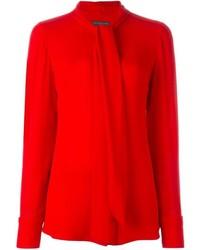 Blusa de manga larga de seda roja de Alexander McQueen