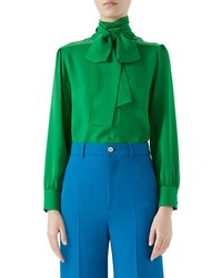 Blusa de manga larga de seda verde