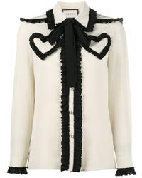 Blusa de manga larga en blanco y negro de Gucci