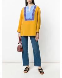 Blusa de manga larga en multicolor de Tory Burch