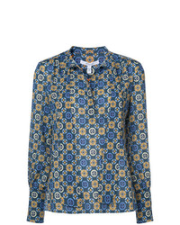 Blusa de manga larga estampada azul de Derek Lam 10 Crosby