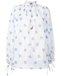 Blusa de manga larga estampada en blanco y azul de Alexander McQueen