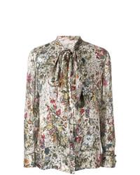 Blusa de manga larga estampada en multicolor de Tory Burch