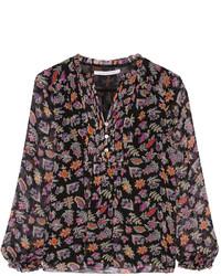 Blusa de manga larga estampada negra de Diane von Furstenberg