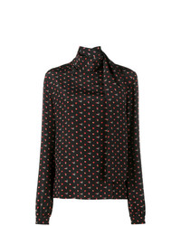 Blusa de manga larga estampada negra de Saint Laurent