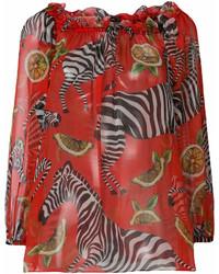 Blusa de manga larga estampada roja de Dolce & Gabbana