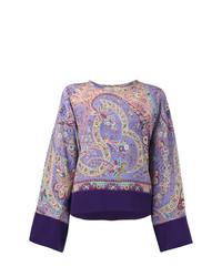 Blusa de manga larga estampada violeta claro de Etro