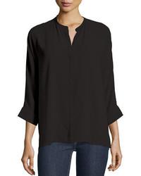 Blusa de manga larga negra de Eileen Fisher