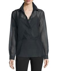 Blusa de manga larga negra de Michael Kors