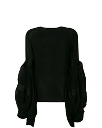 Blusa de manga larga negra de Saint Laurent
