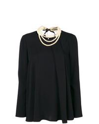 Blusa de manga larga plisada negra de Twin-Set