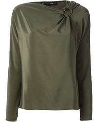 Blusa de manga larga verde oliva