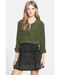 Blusa de manga larga verde oliva de Diane von Furstenberg