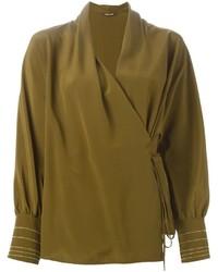 Blusa de manga larga verde oliva de Roberto Cavalli