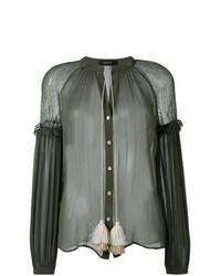 Blusa de manga larga verde oliva de Wandering