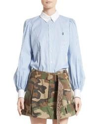 Blusa de Rayas Verticales Celeste de Marc Jacobs