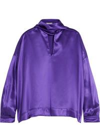 Blusa de satén en violeta de Balenciaga