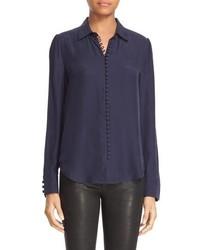 Blusa de Seda Azul Marino de Frame