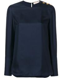 Blusa de Seda Azul Marino de Tory Burch