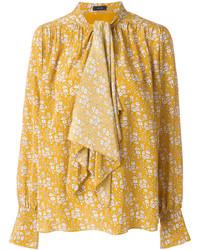 Blusa de seda con print de flores amarilla de Joseph