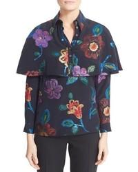 Blusa de Seda con print de flores Azul Marino de Burberry