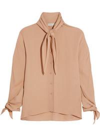 Blusa de seda en beige de Balenciaga
