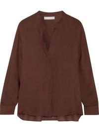 Blusa de seda en marrón oscuro de Vince