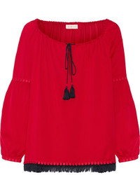 Blusa de seda сon flecos roja de Tory Burch