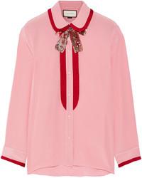 Blusa de seda rosada de Gucci