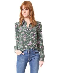 Blusa de seda verde oliva de Rochas