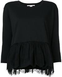 Blusa ligera con volante negra de Stella McCartney
