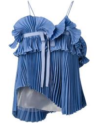 Blusa plisada azul de Rochas