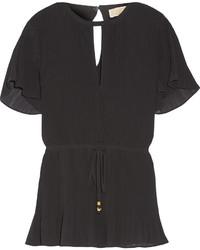 Blusa plisada negra de MICHAEL Michael Kors