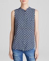 Blusa sin mangas a lunares en azul marino y blanco