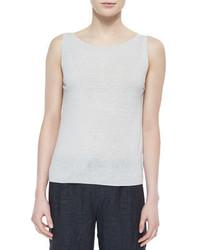 Blusa sin mangas blanca de Eileen Fisher