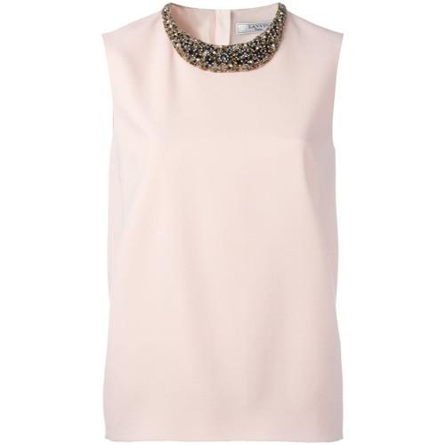Blusa sin mangas con adornos rosada de Lanvin