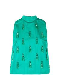 Blusa sin mangas con adornos verde de MSGM