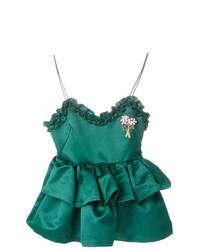 Blusa sin mangas con adornos verde de Vivetta