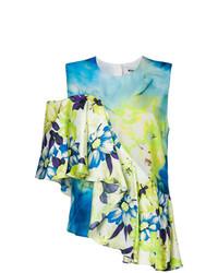 Blusa sin mangas con print de flores en turquesa de MSGM