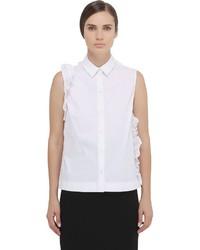 Blusa sin mangas con volante blanca de Simone Rocha