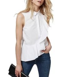 Blusa sin mangas con volante blanca de Topshop