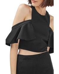 Blusa sin mangas con volante negra de Topshop