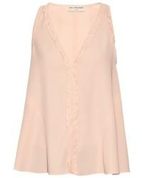 Blusa sin mangas con volante rosada