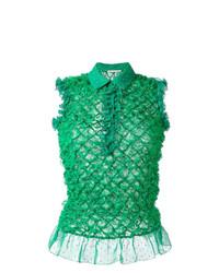 Blusa sin mangas con volante verde de Marco De Vincenzo