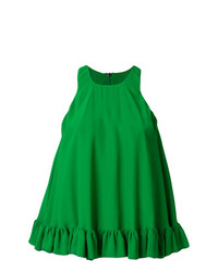 Blusa sin mangas con volante verde de MSGM