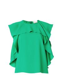 Blusa sin mangas con volante verde de RED Valentino