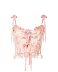 Blusa sin mangas de encaje rosada