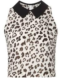 Blusa sin mangas de leopardo en blanco y negro de Muveil