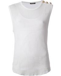 Blusa sin mangas de punto blanca de Balmain